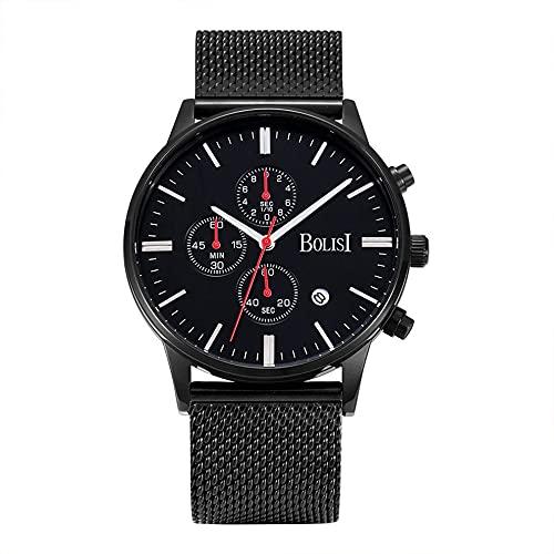 Reloj multifuncional de los hombres de acero de la correa impermeable de los deportes del cuarzo del reloj de los hombres de moda popular lindo regalo dulce
