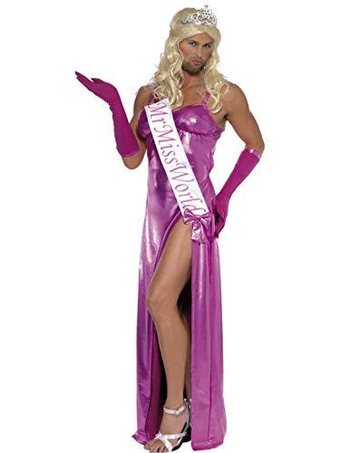 Luxuspiraten - Herren Männer Mister Miss World Universum Kostüm mit Kleid, Handschuhen und Schärpe, perfekt für Karneval, Fasching und Fastnacht, M, Pink