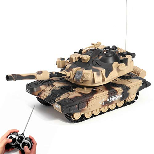 XIAOKEKE Rc Panzer, RC Ferngesteuerter Panzer Mit Airsoft Schuss, Sound Und Beleuchtung, Modell Im Maßstab 1:24 Inkl. Akku, Ladegerät, Fernsteuerung Und Munition,B