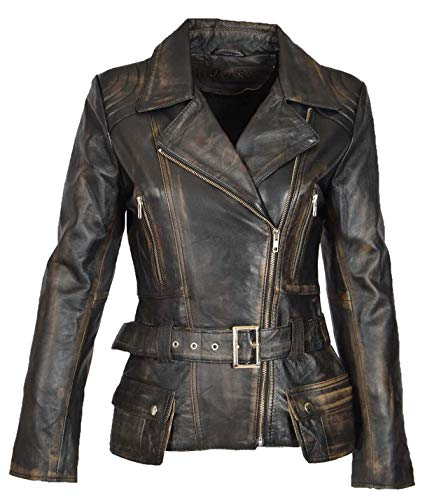 Damen Lederjacke Tailliert Hüfte Länge Taille Gürtel Biker Style Celia Abreiben Schwarz (Large)