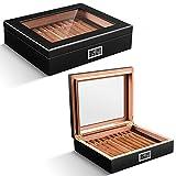 CIGARLOONG Humidor de puros de madera de cedro, caja clásica para puros con higrómetro digital y humidificador para 20-35 puros (color negro)
