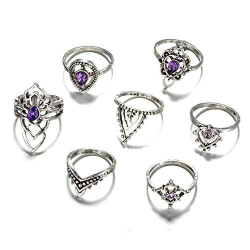 Conjunto de 7 anillos retro de amatista redondos con flores huecas y diamantes de imitación de aleación para mujer