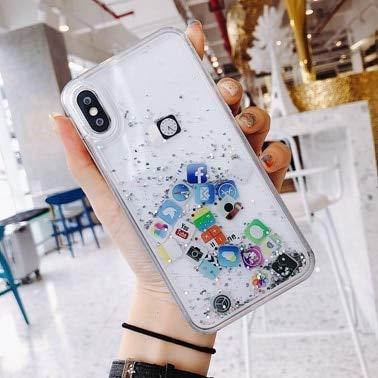 SHRHSJSJK Cute Apps Icon Liquid Glitter Quicksand Custodia per iPhone 6 6S 7 8 Plus Cover Rigida per iPhone X XR XS Max Fundas Coque capa