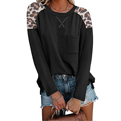 Esque Top Suelto De Mujer, Color SóLido Manga Larga Cuello Redondo Casual Talla Grande Negro L,Mujer Gran TamañO L,Camisetas Mujer Baratas,Camisa Sexy Mujer,Tallas Grandes Blusa-Negro-L