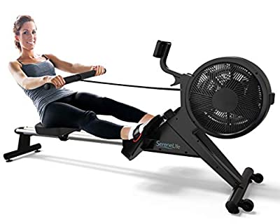 SereneLife Home Rowing Machine-Air and Magnetic Rowing Machine-Exercise Machine for Gym or Home Use-Measures Time, Distance, Stride, Calories Burned-Rowing Machine Cardio Workout for Fitness, Black