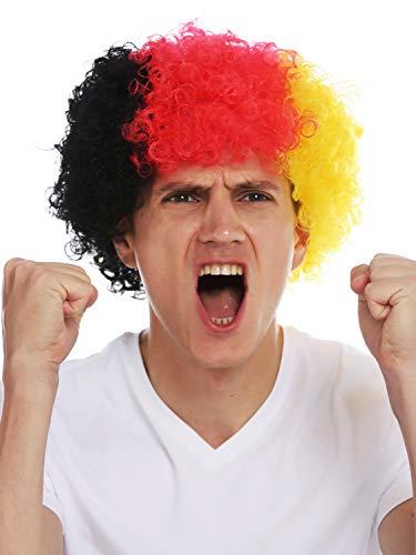 WIG ME UP - MMAM-15M Parrucca Carnevale Afro Parrucca Fan Campionati mondiali Calcio Germania Nero Rosso Oro