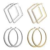 EQLEF Aros Pendientes Plata, Grandes Pendientes Redondos y Cuadrados para Mujer Pendientes de aro de Metal de aleación 4 Pares (Oro y Plata)