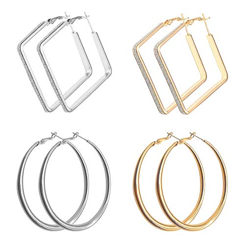 EQLEF Hoop Earrings Set, Big Round and Square Hoops Earrings for Women Alloy Metal Hoop Earrings 4 Pairs(Gold and Silver)