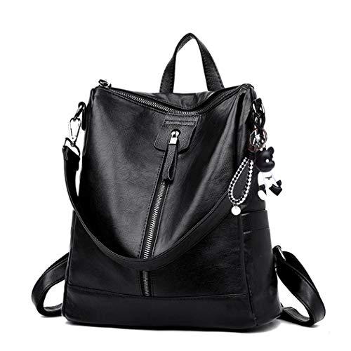DEERWORD Damen Rucksack Handtaschen Elegant Anti Diebstahl Frau Stadtrucksack Henkeltaschen Tagesrucksack Schwarz