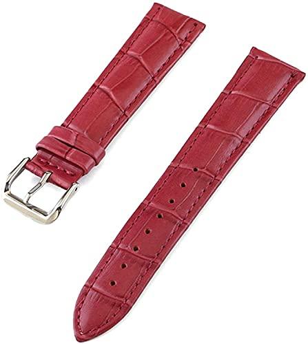 Mire la Banda de la Pulsera de la Banda de Relojes de la Banda de Reloj de Cuero Genuino de 10 mm-24mm de Relojes de Relojes de Relojes, cómodo Transpirable (Color : Purple, Size : 17mm)