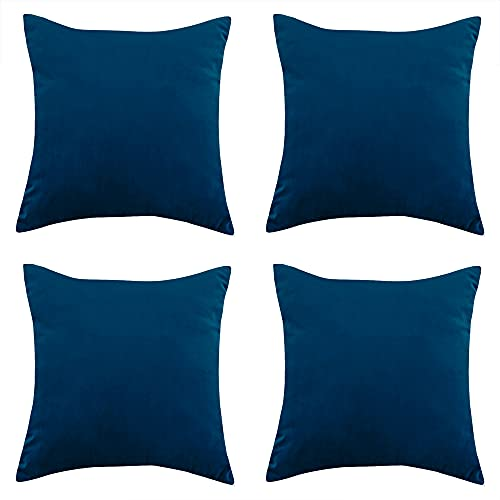 RENMEI Kissenbezug aus Samt für Sofa, 40 cm x 40 cm, glatt, weich, für Schlafzimmer, mit unsichtbarem Reißverschluss, Nachtblau