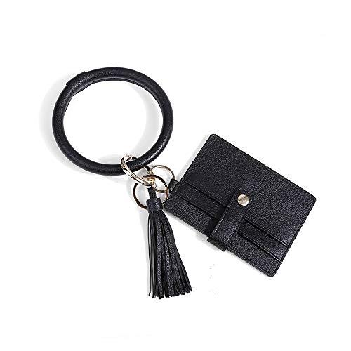 ZJZ 2020 La Nouvelle PU Poignet Porte-clés Carte Sac Feuille Sport en Cuir Bracelet Porte-Monnaie Pendentif imprimé léopard Bracelet Porte-clés (Color : B)
