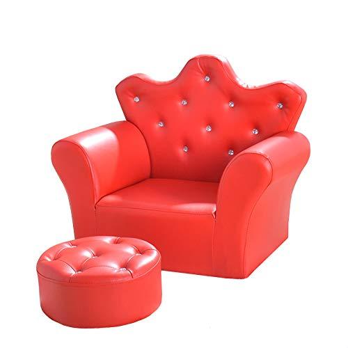 QSLS Sofá pequeño, Muebles para sillones para niños, para 1-6 años niña, con heces,Rojo