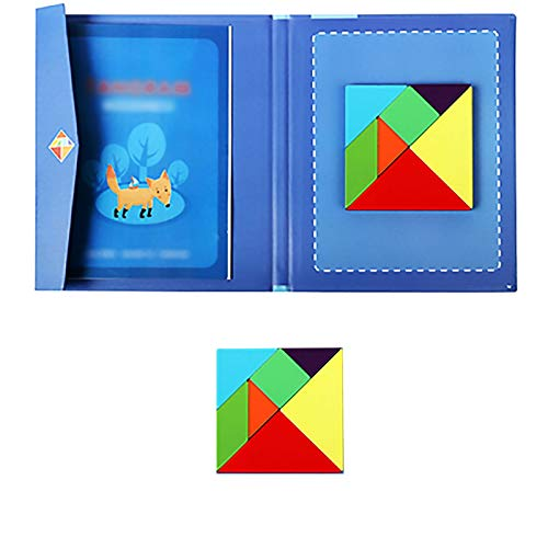 ZFF 3D-Puzzle Puzzle - Tangram Magnetic Buch Tragbares Vorschul Baby-Spielzeug Intellectual Puzzle Spielzeug aus Holz Kinder pädagogisches Spielzeug Pädagogisch und interessant. (Color : Style 3)