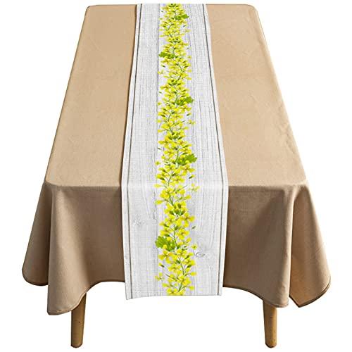 Kairuijie Corredor De Mesa De Algodón Y Lino Simple, Impermeable Y A Prueba De Aceite Café Largo para El Hogar, Patrón Floral(Size:36×183CM,Color:Blanco)