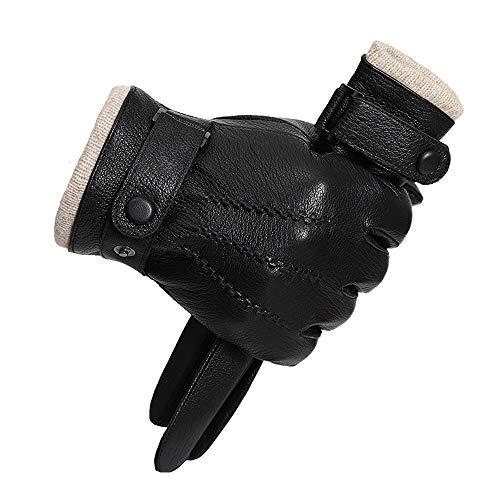 Hiver Gants en cuir Gants Hommes écran tactile mini messages, conduite par temps froid moufles, doublure en polaire longue - Laine / Cachemire Mélange Cuff traditionnel Gants en cuir conduite meilleur