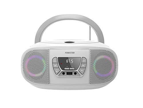 RADIO CD FONESTAR BOOM-GO-B BLANCO 4W RMS BLUETOOTH FM USB/MP3 AUX IN SALIDA AURICULARES EFECTOS LUMINOSOS