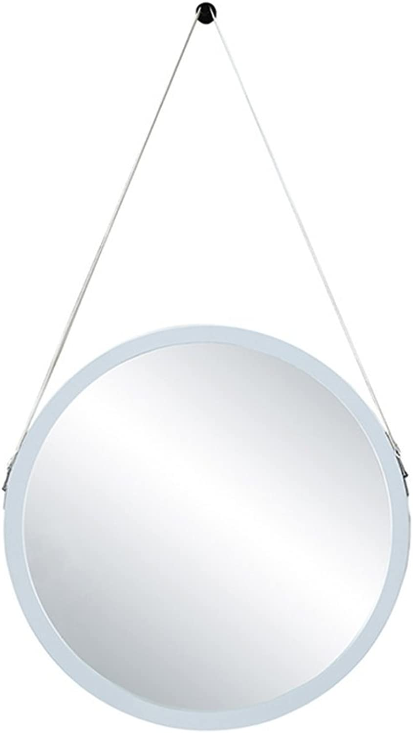 Bathroom Mirror Simple Wall-Mounted Wooden Frame Mirror Lanyard Wall Mirror Round Dressing Table Mirror (color   White, Size   30CM)