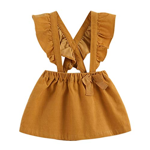 marc janie Little Girls' Toddler Tutu Dress Baby Girls Jumpsuit Strap Overall Dress 5 Years Polar Yellow 83079