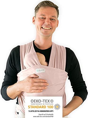 Ręcznik do noszenia firmy Hebamme – chusta do noszenia dla dzieci – elastyczna chusta do noszenia – nosidełko dla noworodków do 15 kg – chusta dla niemowląt o długości 5 m – ręcznik do noszenia dla noworodków z workiem do przechowywania (różowy)