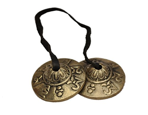 Dharma Store-Platillos tibetanos Tingsha (pequeños), Om Mani Padme Hum