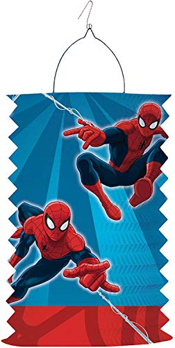 Amscan/Carpeta Set: Zuglaterne + Stab * Spider-Man * als Deko oder Spiel für Kindergeburtstag, Halloween oder Karneval // Mottoparty Motto Party Oktober Lampion Laterne