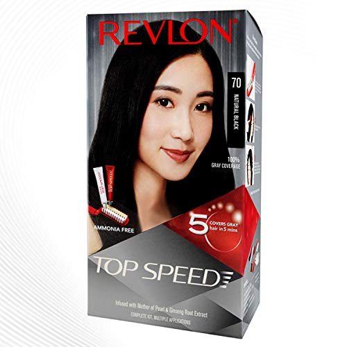 Revlon Top Speed Hair color Women, Natural Black 70 | Ammonia Free| With Ginseng root extract