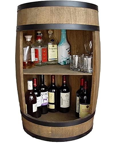 Weinfass als Weinregal Weinschrank Bar 81cm, Tisch aus Holzfass, Wein Rack, Flaschenständer deko. Fassbier Gin hausebar Bier und Whisky. Komodenschrank Holz Fass fur Wohnzimmer