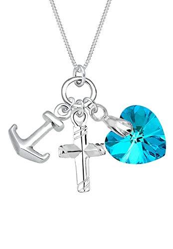 Elli Halskette Elli Damen Halskette Anker Herz Kreuz mit Swarovski Kristallen in 925 Sterling Silber