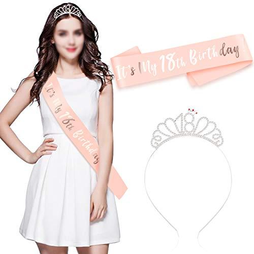 HOWAF Buon 18 ° Compleanno Fascia e Compleanno 18 Tiara cerchietti per Oro Rosa 18 Anni Compleanno Decorazioni Ragazza Donna Regalo di Compleanno