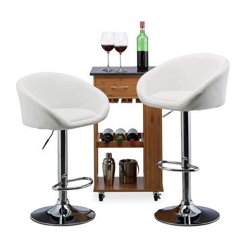 Relaxdays Barkruk 2-delige set, in hoogte verstelbaar, draaibaar, tot 120 kg, kunstleer, metaal, HxBxD: 104 x 55 x 39 cm, wit