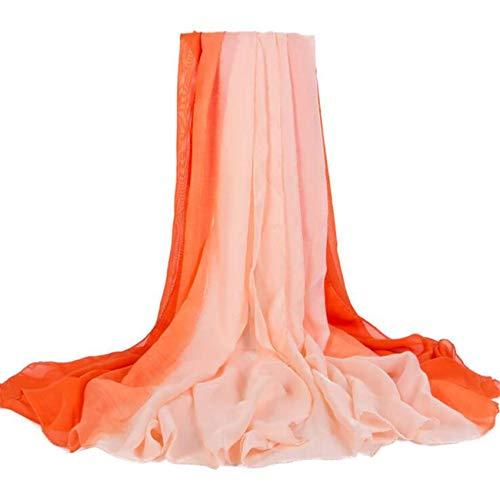 Las mujeres de moda diseño de color degradado bufandas largas señora gasa bufanda abrigo chal (# 3)