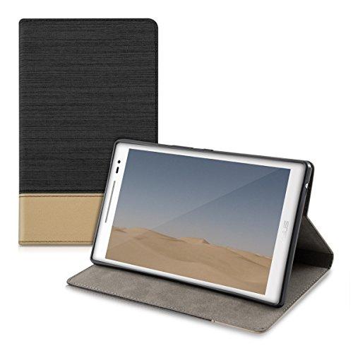 kwmobile Hülle kompatibel mit Asus ZenPad 8.0 Z380KL/Z380C/Z380M - Slim Tablet Cover Case Schutzhülle mit Ständer Schwarz Braun