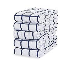 Eono Paños de Cocina de Rizo de algodón - 100% Muy absorbentes - Ideales para secar Cristales en restaurantes, Bares y cocinas - 40 x 64 cm - Juego de 5 - Azul
