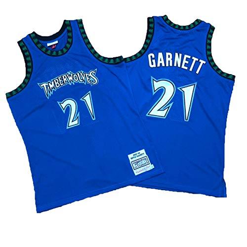 BXWA-Sports Timberwolves NBA Jersey # 21 Kevin Garnett Retro Camisetas de Baloncesto sin Mangas cómodo de Malla Bordado Fresco y Transpirable de Tela Unisex,L