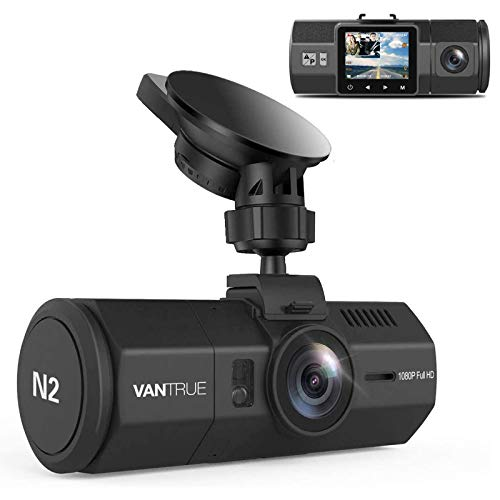 Vantrue N2 Uber Dual Dash Cam-1080P Inside and Outside Dash Camera for Cars 1.5' Near 360° Wide Angle Lyft Dashboard Cam w/ Parking Mode, Motion Detection, Front Camera Night Vision Effects