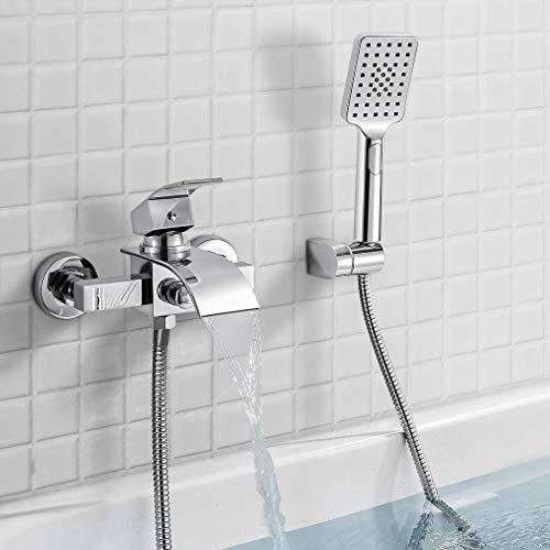 Wasserfall Badewannenarmatur mit 3 Strahlarten Handbrause, WOOHSE Aufputz Wannenarmatur Badarmaturen - Einhand-Wannenbatterie Badewanne Wasserhahn Duscharmatur Mischbatterie mit Duschschlauch 1,5m