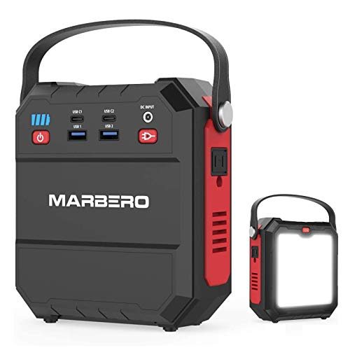 MARBERO 83Wh Portable Power Station, 22500mAh Camping Solar Generators Lithium Battery Power Supply with 110V/80W(Peak 120W) AC Outlet, USB QC3.0, LED Flashlights