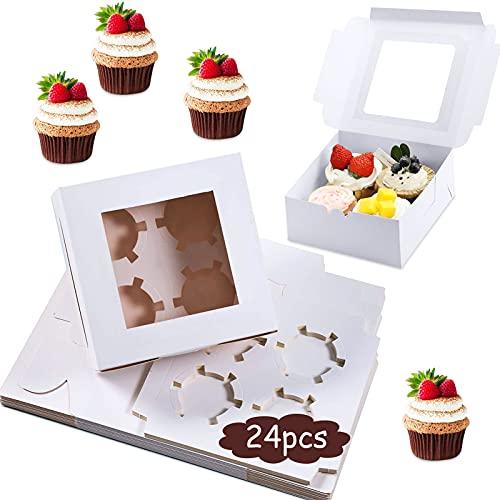 JOKILY 24 Tortenkartons Tortenschachteln 16x16x9cm weiß, Cupcake Box Kuchen-Karton Muffin-Box Geschenkbox mit Fenster für Geburtstag, Hochzeit, Keks, Gebäck