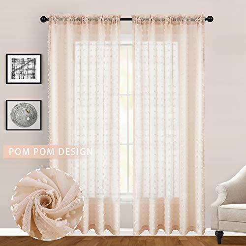 Guken transparente Vorhänge mit Stangenschlaufe, elegante Voile-Vorhang-Set, Pompon, solide Voile, Stickerei, Fensterbehandlung, Paneele W52 x L84 Pfirsichpuff Rosa
