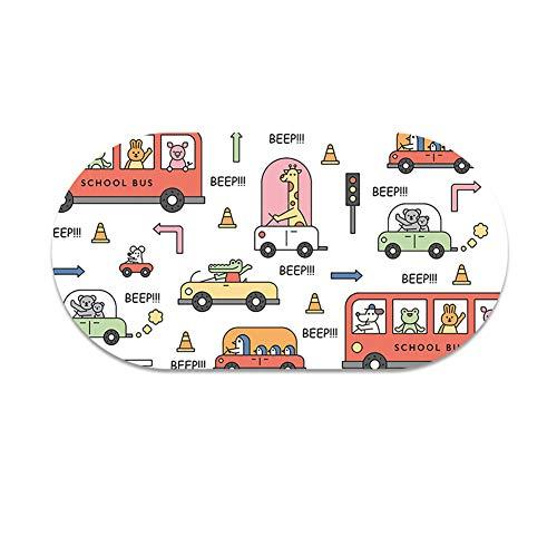 Tapis de Douche Ovale pour Enfants, ventouses pour Baignoire de Salle de Bain Lavable en Machine - Tapis de Salle de Bain imprimé en PVC Durable et antidérapant (15 * 27in),B