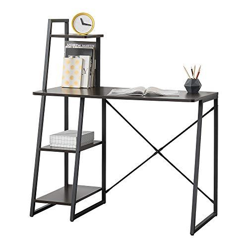 [en.casa] Mesa Escritorio Aalborg Escritorio de Ordenador 117 x 102 x 50 cm con estantes en la Parte Izquierda Mesa de Oficina Negro y Efecto Nogal