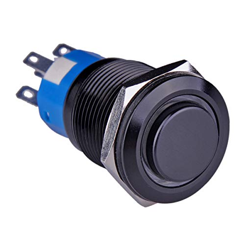 Ulincos Latching Pushbutton Switch U19C2 1NO1NC SPDT ON/OFF Black Metal Shell with Red LED Ring Suitable for 19mm 3/4' Mounting Hole (Red)
