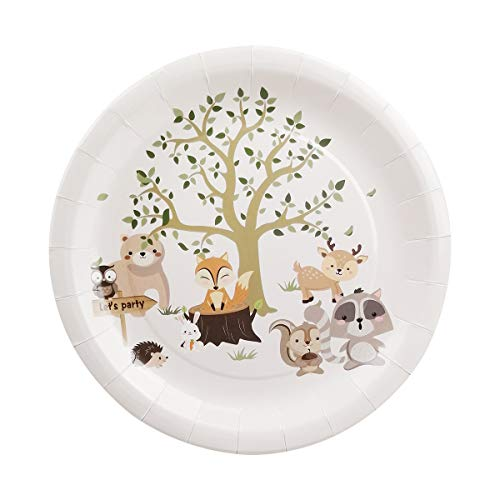 Buy Bargain Cieovo 24 PCS Forest Animals Party Plates Disposable Party Paper Plates Tableware Set fo...