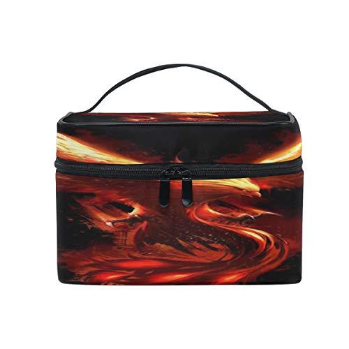 Bigjoke Make-up-Tasche, Phoenix Vogel-Druck, tragbare Reisetasche, großer Druck, Kosmetiktasche, Organizer, Fächer für Mädchen und Frauen