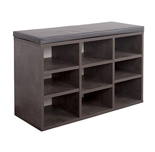 RICOO WM035-BG-A, Schuhregal, 79x49x30 cm, Holz Beton-Grau, Sitzbank mit Stauraum, Schuhschrank mit Sitzkissen, Schuhbank für den Flur, Schuhablage