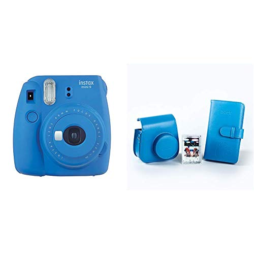 Fujifilm Instax Mini 9 - Kit Completo (Cámara instantánea, funda desmontable con cierre magnético, álbum 108 fotos, marco de metacrilato), Azul (Cobalt Blue)