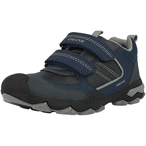 Geox J BULLER Boy D Sneaker, Navy/Grey, 34 EU
