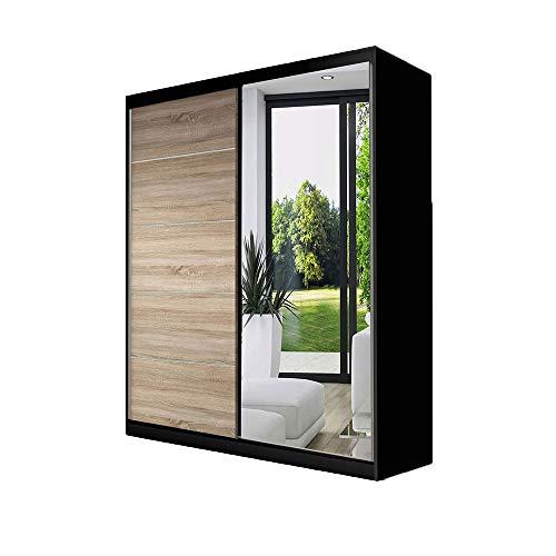 Idzczak Meble Schwebetürenschrank Vista 05 mit Spiegel Kleiderschrank Schlafzimmer- Wohnzimmerschrank Schiebetürenschrank Modern Design (Schwarz/Sonoma + Spiegel)