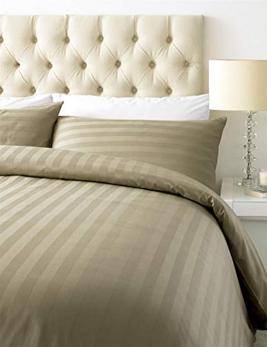 iTrend 800TC Thread Count Luxurious Duvet Cover Set - Cotton Rich Satin Stripe-With Housewife Pillow Cases -King-Mocha